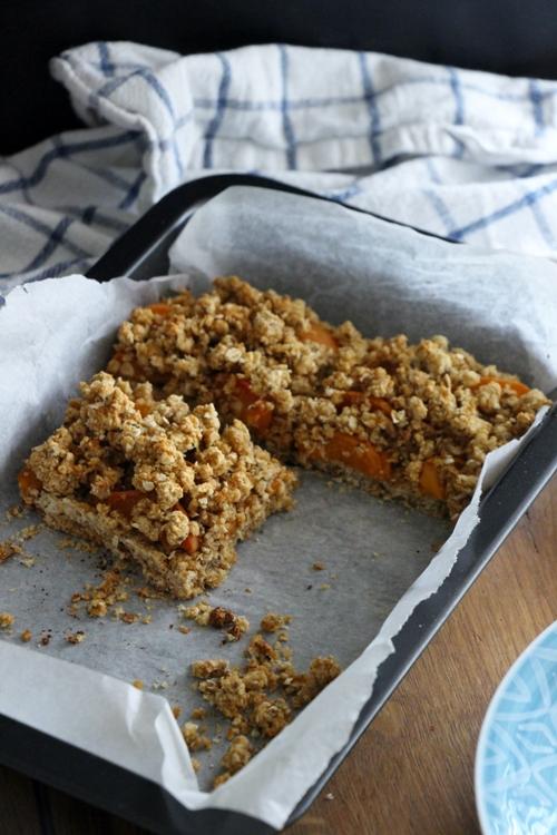 Aprikosen Crumble, vegan und glutenfrei