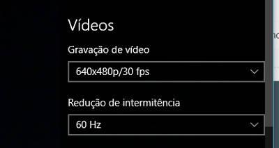 alterar resolução webcam