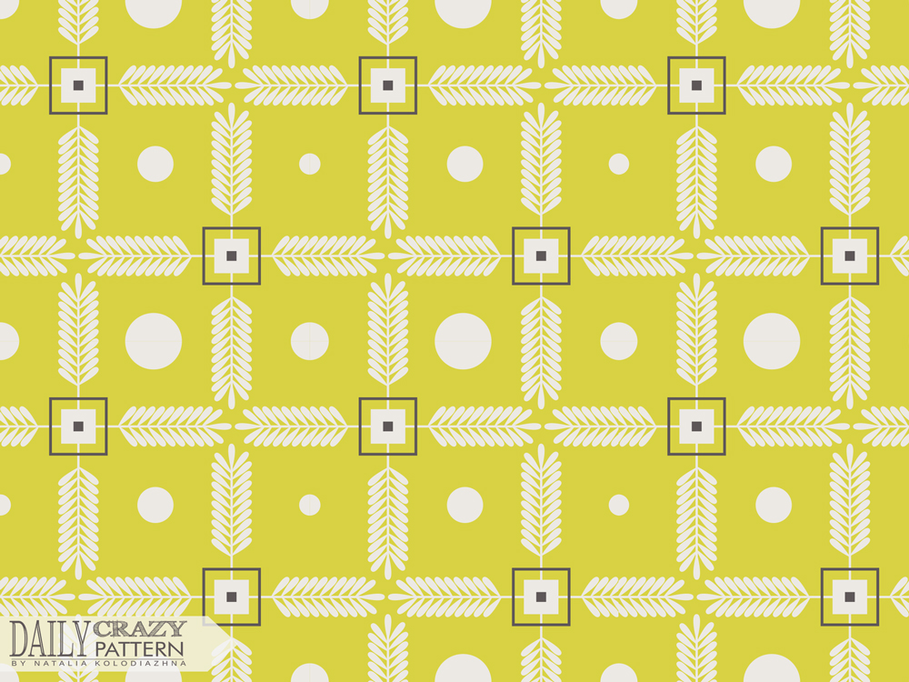 "Nice art print, white and yellow for ""Daily Crazy Pattern"" project"