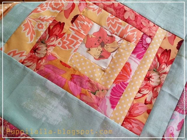 A modern Puppilalla Design Patchwork Log Cabin Pillowcase