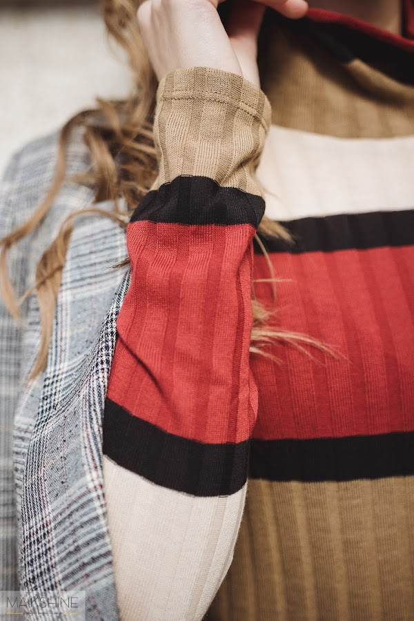 Jersey de canalé de rayas