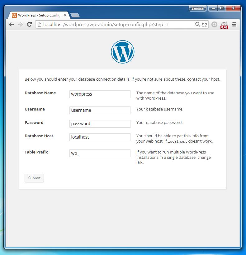 how to create database username and password in xampp