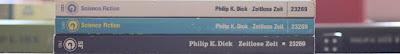 Die Buchrücken der drei Auflagen von Philip K. Dicks Zeitlose Zeit bei Goldmann