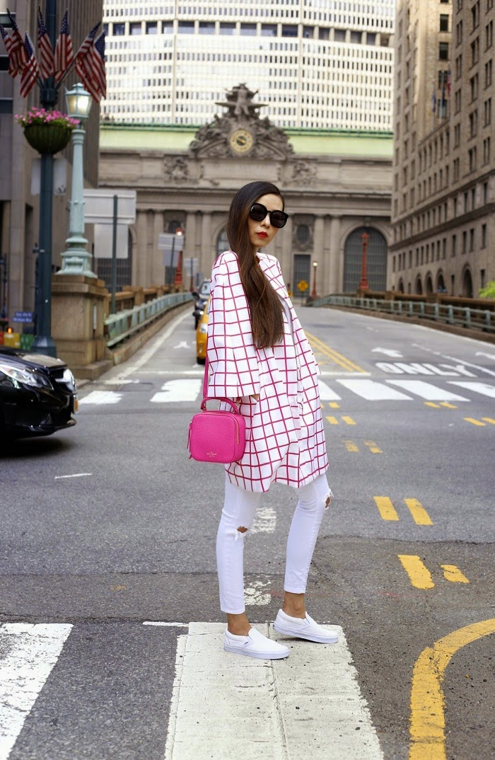 Silk nyc pink windowpane coat, hot pink outfit, hot pink bag, kate spade ny bag, white tee outfit, white jeans outfit, vans slip on, street style, nyc, fashion blog, Karen walker super duper sunglasses,memorial day sale