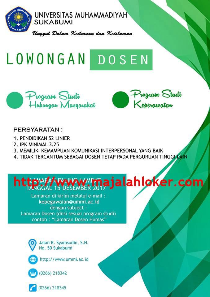Lowongan Dosen Prodi Hubungan Masyarakat (Humas) dan Keperawatan Universitas Muhammadiyah Sukabumi (UMMI)