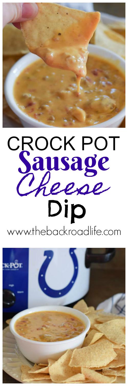 Crock Pot Sausage Cheese Dip. A delicious 3 ingredient crock pot chip dip