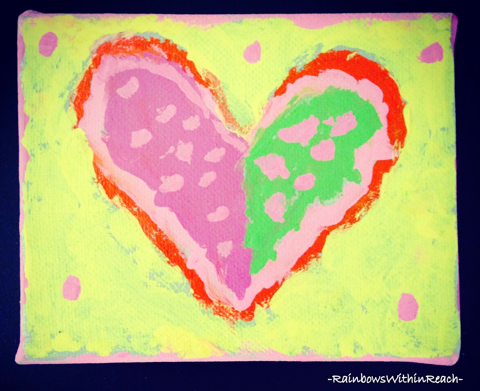 Hand-painted Kinder HEART canvas: perfect craft for Valentine's Day: RainbowsWithinReach