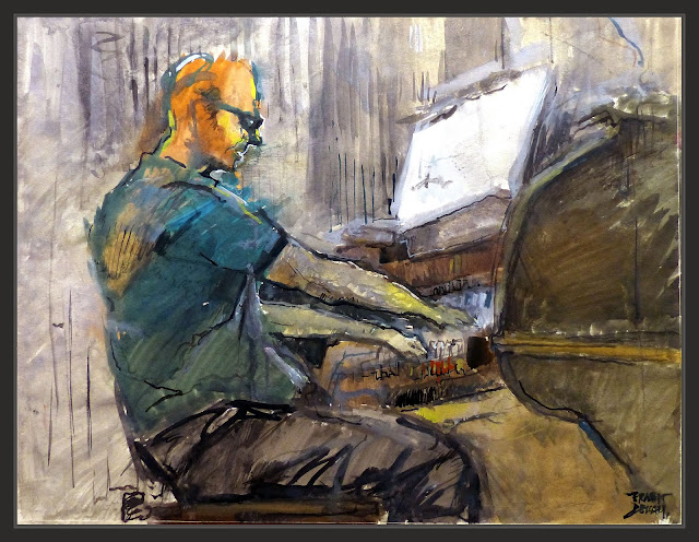 ORGUE-ÒRGAN-ORGANO-SEU-MANRESA-PINTURA-MUSICA-SACRA-ORGANISTA-INTERIOR-BASILICA-VIDA-MUSICOS-INTERPRETES-PINTURAS-ARTISTA-PINTOR-ERNEST DESCALS-