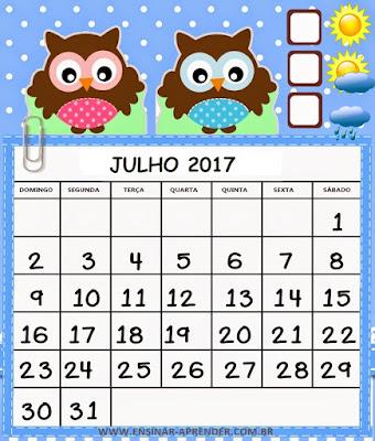 Resultado de imagem para calendário de julho de 2017