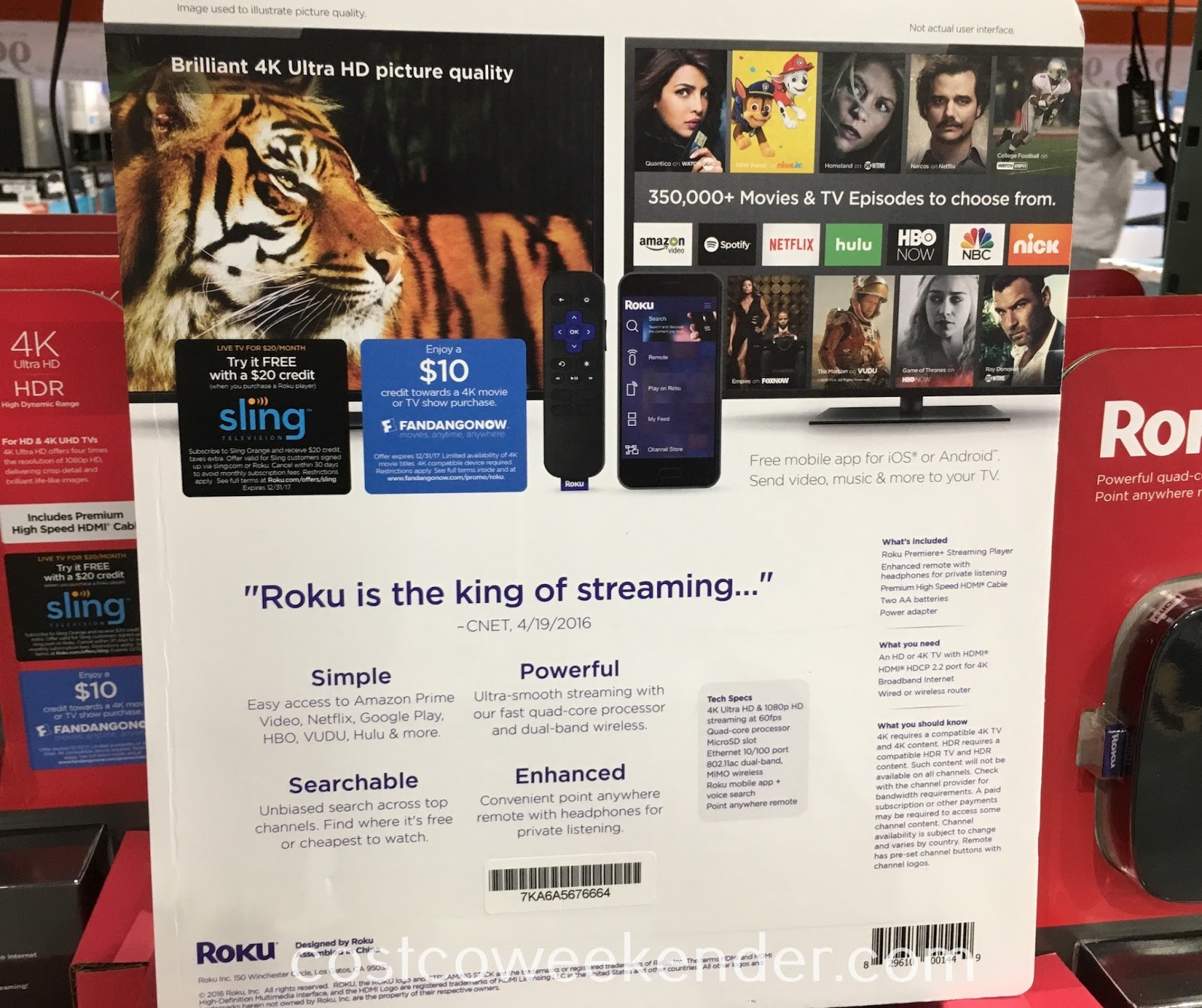 Costco 1116519 - Roku Premiere+ Streaming Media Player - great for streaming Hulu, Netflix, Amazon online content