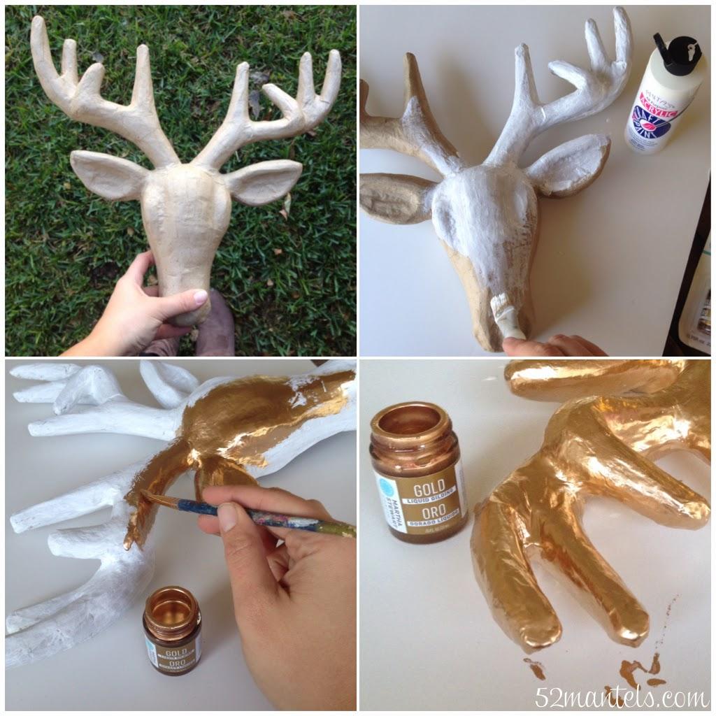 Happy Holidays Diy Gold Deer Head Wreath Tatertots And