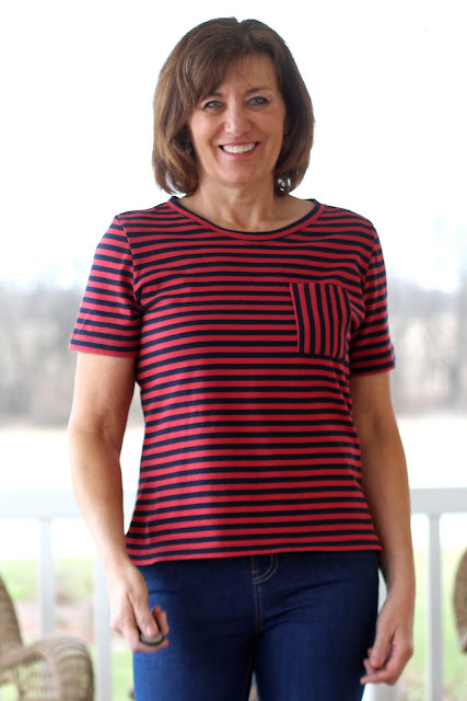 McCall's 6964 in Mood Fabrics' stripe knit, cut shorter and added a pocket.