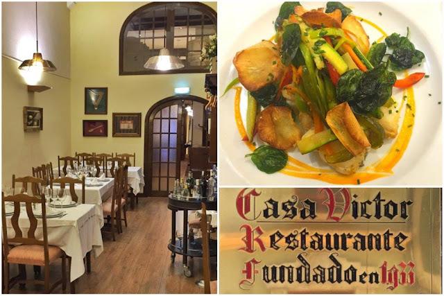 Sala del Restaurante Casa Víctor en Gijón – Plato - Placa
