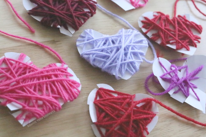 yarn wrapped hearts craft for kids