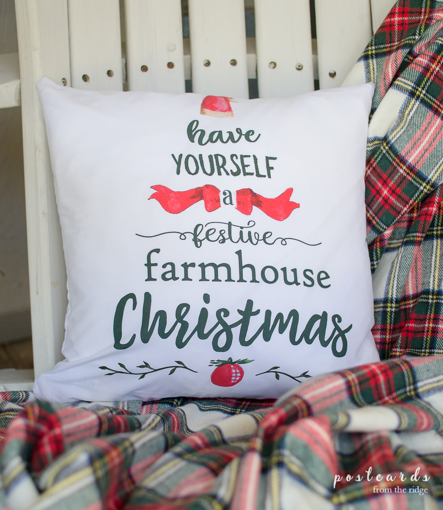 Fun farmhouse Christmas pillow cover