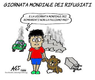 rifugiati, giornata modiale del rifugiato, bombe, guerra, satira, vignetta