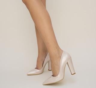 Pantofi Mahima Roz pudra cu toc gros eleganti si ieftini