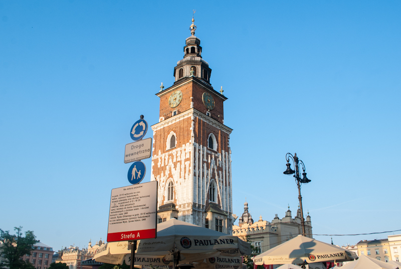 The clock tower in the main square of Kraków, Poland