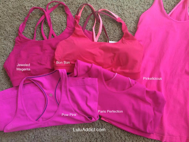 lululemon raspberry-glo-light-cool-racerback pinkelicious-pow-paris-perfection-bon-bon-jeweled-magenta