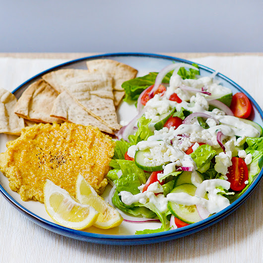 Greek Salad and Roasted Hummus