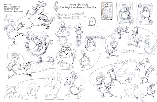 characgter development rooster sketches by Imagine That! Design for Roosterfin Games