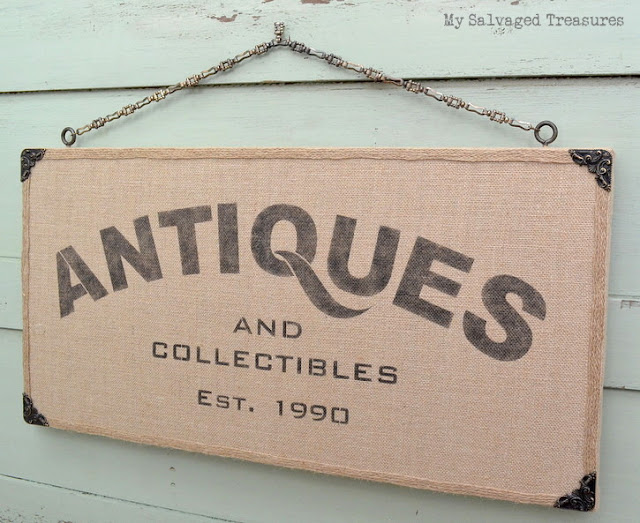 Antiques and Collectibles stencil on burlap tutorial