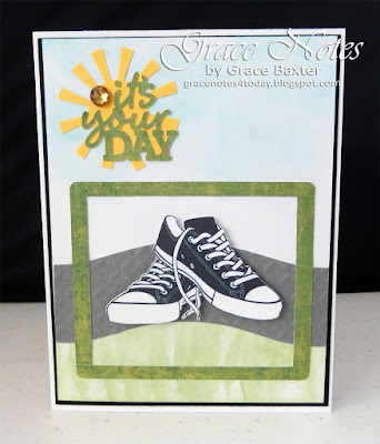 running shoes b-day card, front. Created by Grace Baxter