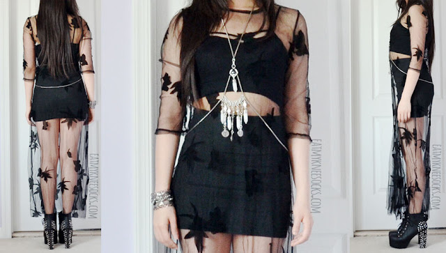 An all-black boho-style summer outfit featuring the For Love and Lemons Orchid maxi dress dupe mesh floral dress from Romwe, paired with a Forever 21 body chain, bodycon skirt, Brandy Melville-style cross-front bralette, and platform booties.