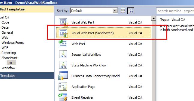 Visual Webpart for SandBox Solution in SharePoint 2010