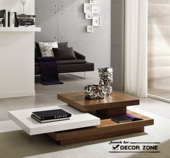 solid wood coffee table ideas multi surfaces for different uses - Coffee Table Design Ideas