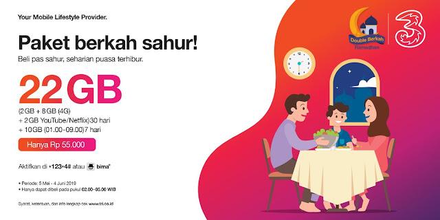 #Tri - #Promo Paket Total 22 GB Hanya 55K di Paket Spesial Sahur (s.d 04 Juni 2019)
