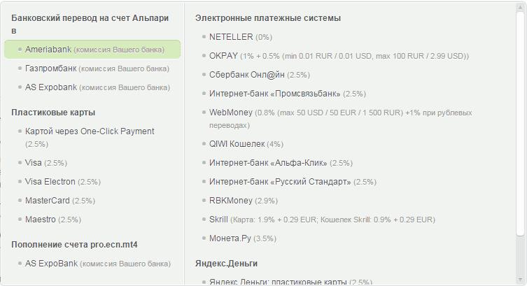 Банковский перевод на счет Альпари