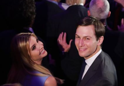 Jared Kushner smiles for the camera at Donald Trump's presidential victory party