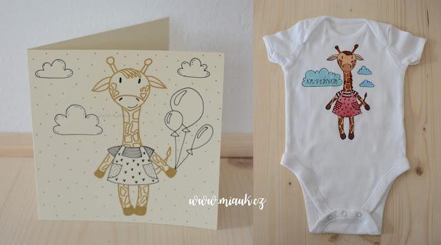 žirafa bodyčko přání taška