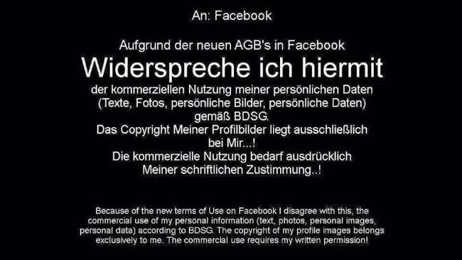 Unsinniger Widerspruch gegen Facebooks neue Nutzungsbestimmungen