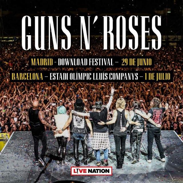 Cartel del anuncio de conciertos de Guns n' Roses