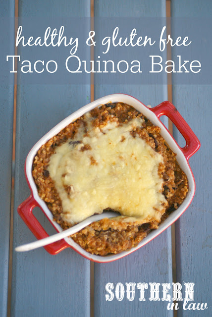 Healthy Taco Quinoa Bake Recipe - low fat, gluten free, high protein, clean eating dinner recipes, grain free, nut free, make ahead meal recipes