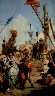 The meeting of Anthony and Cleopatra, depicted by Tiepolo,  can be found in Palazzo Labia