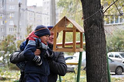 Ребенок проверяет кормушку для птичек
