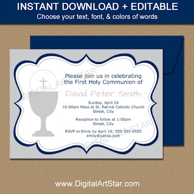 editable first communion boy invitations in silver with navy accents