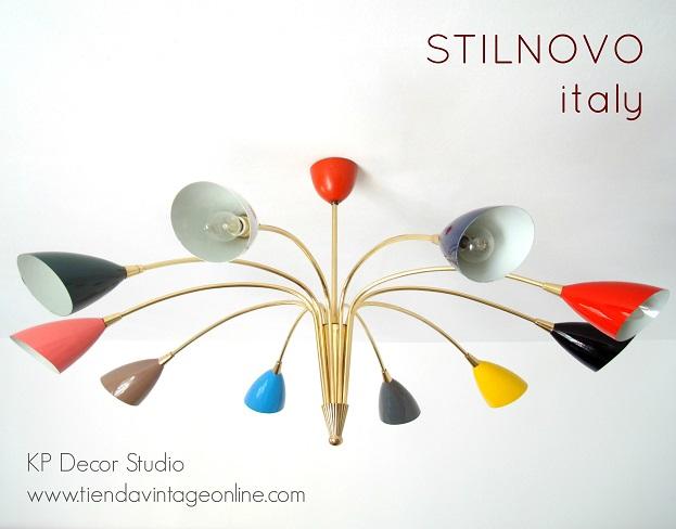 lampara techo vintage años 50 marca stilnovo italiana