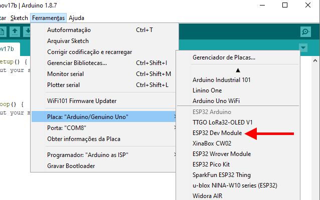 IDE Arduino ESP32 Dev Module