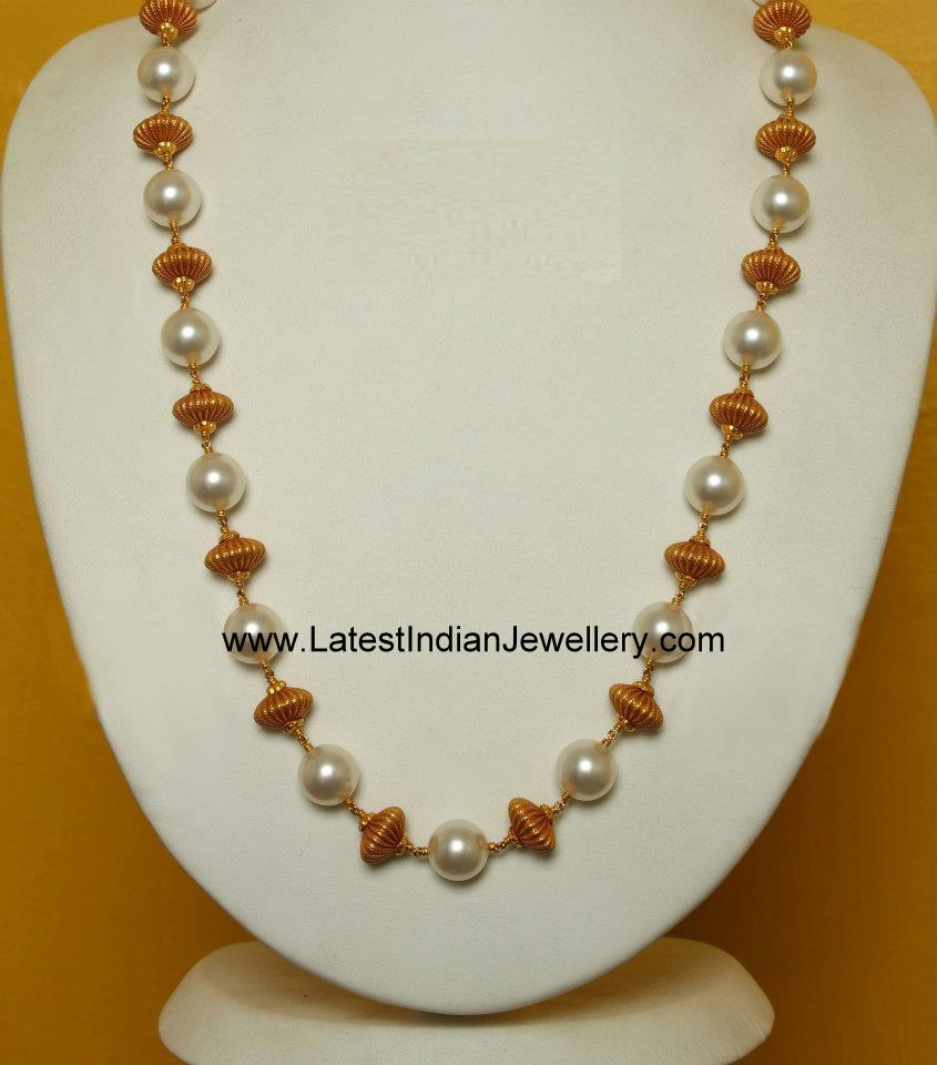 Simple Pearl And Gold Beads Long Chain