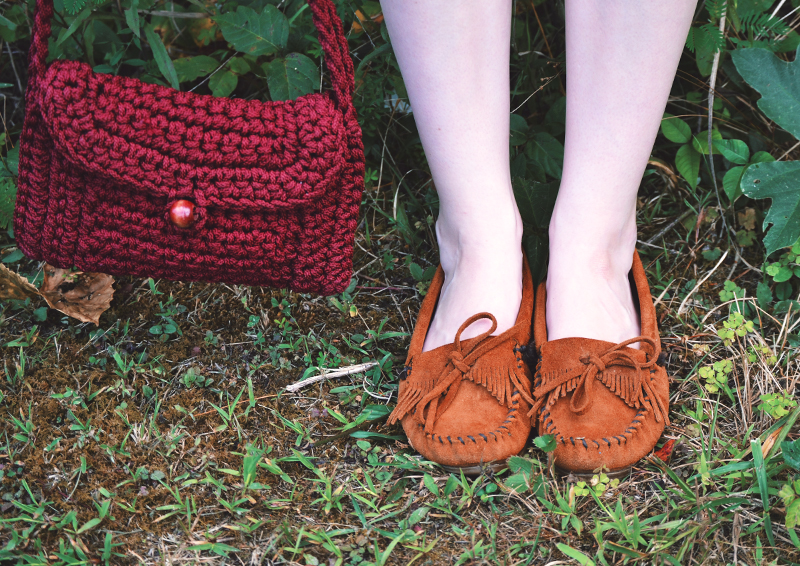 The Flying Clubhouse: macramé bag and Minnetonkas