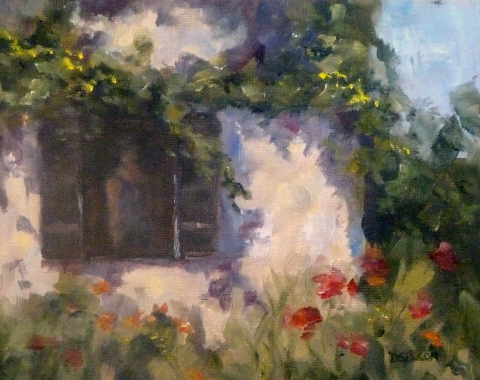 Daily Painting Projects French Cottage Window Landscape Painting
