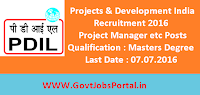 Projects & Development India Recruitment 2016 for Various Posts Apply Online Here
