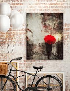 dekoracja czerwony parasol