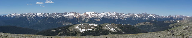 The Neversummer mountain range in Rocky Mountain National Park panorama