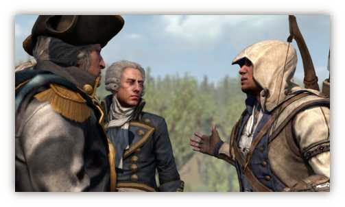 Washington y el marqués de La Fayette en la batalla de Monmouth (Assassin's Creed)