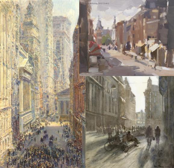 Impressionisten en hedendaagse schilders als inspirator voor cursisten schildercursus of schilderles Achterhoek cityscapes stadsgezichten